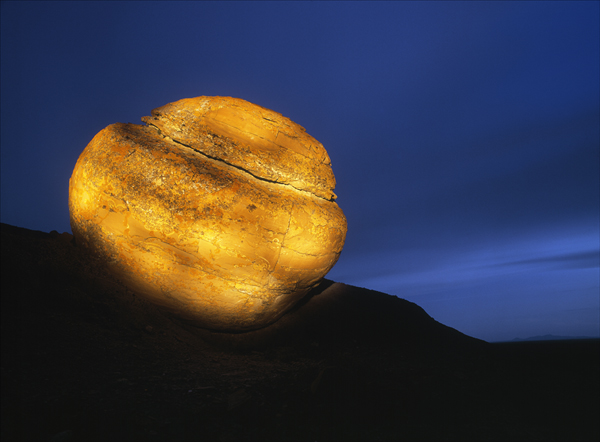 Light painted boulder, Red Rock Coulee Natural Area, Alberta, Canada